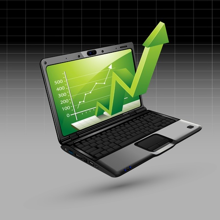 coming out: illustration of upward arrow coming out of laptop on isolated background