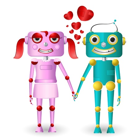 funny robot: illustration of male and female robots loving each other
