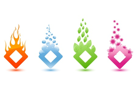 colourful fire: illustration of different element like water fire and eco on isolated background Illustration