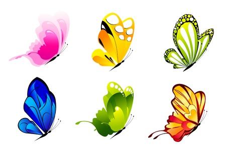 Ilustración del conjunto de coloridas mariposas sobre fondo aislado