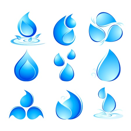 waterdrop: illustration of set of water drops in different shapes
