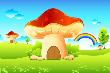 illustration of mushroom homes in beautiful meadow Vector