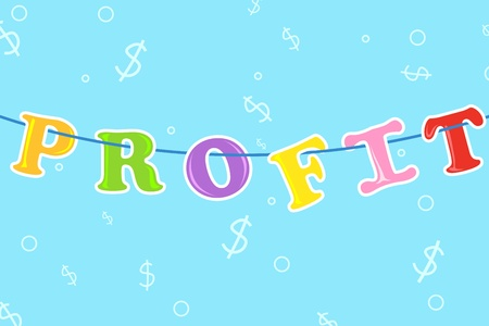 illustration of profit text hanging in cloth line with dollar background Stock Vector - 8991827