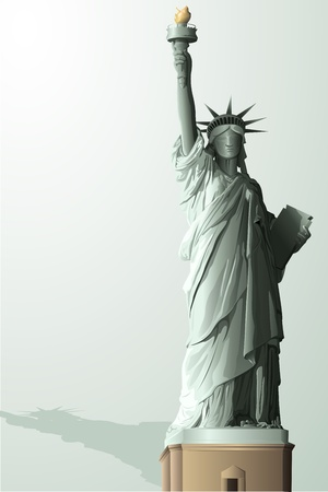 illustration of statue of liberty on abstract background illustration