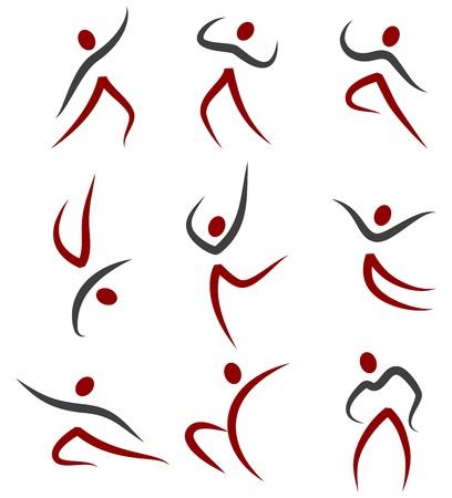 gimnastas: Ilustraci�n del conjunto de diferentes poses de Gimnasia