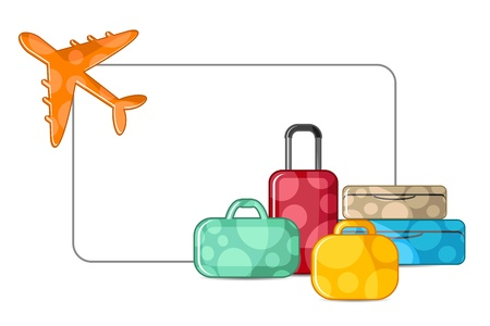 suitcase packing: illustration of airplane taking off with luggage on white background Illustration
