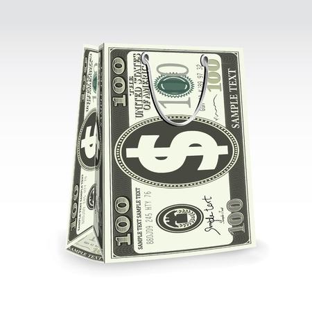illustration of dollar shopping bag on abstract background Stock Illustration - 9062642
