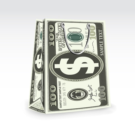 illustration of dollar shopping bag on abstract background Stock Illustration - 9062642