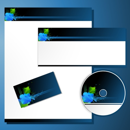 letter head: illustration of business template with business card,cd cover and letter head Illustration