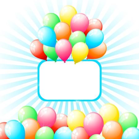 illustration of bunch of balloon on sun burst background Stock Vector - 9062570