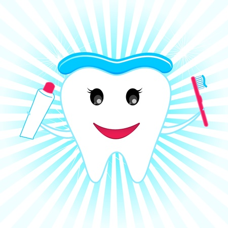 illustration of happy teeth with tooth brush and tooth paste Stock Vector - 9062568