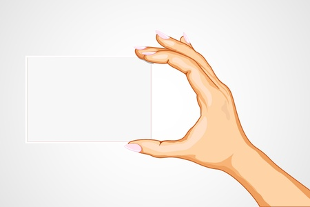 illustration of hand holding empty card on abstract background Stock Illustration - 9062573