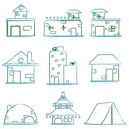 illustration of set of architectural building on isolated white background Stock Vector - 9062646