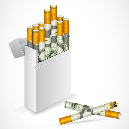 burning money: illustration of cigarette box with dollar cigarette