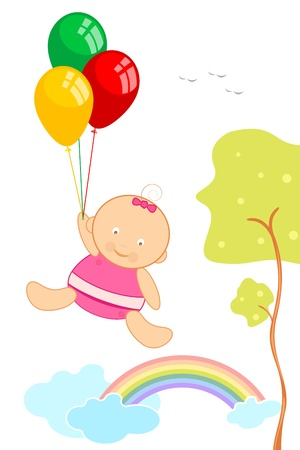 illustration of baby hanging on air holding bunch of balloon Vector