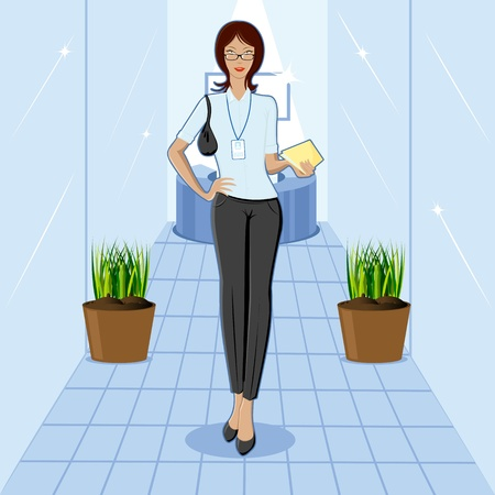 illustration of smart lady carrying paper on office background Stock Vector - 9062650