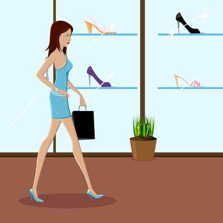 attractive: illustration of fashionable lady shopping in a mall