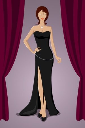 illustration of gorgeous lady standing in evening gown in a party Vector