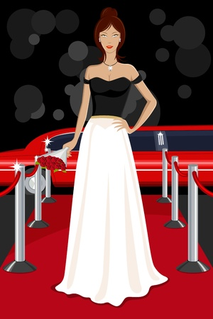 girl in red dress: illustration of glamorous lady walking on red carpet