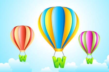 url web: illustration of WWW hanging from hot air balloon in sky