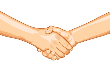 two finger: illustration of two male handshaking with each other on white background