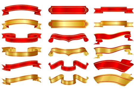 illustration of set of different shape ribbons on isolated background Stock Vector - 9067748