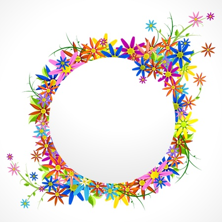 chamomile flower: illustration of circular frame with colorful flower on white background