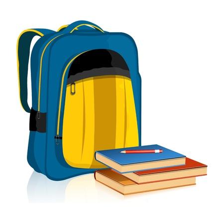 sachant lire et �crire: illustration de sac d'�cole avec un livre et un crayon sur fond blanc