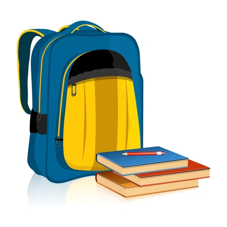 bookbag: illustration of school bag with book and pencil on white background