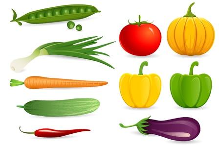 garden peas: illustration of set of fresh vegetables on white background
