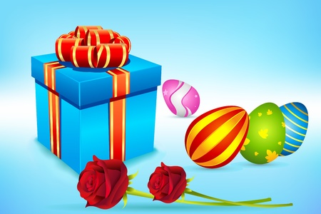 illustration of colorful decorated easter eggs with ribbon and gift box Vector