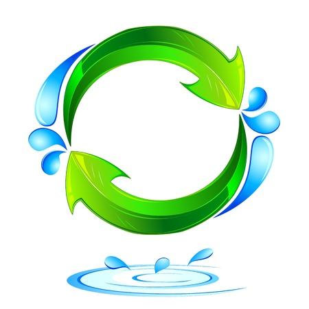ciclo del agua: Ilustraci�n de reciclar flecha sobre fondo aislado