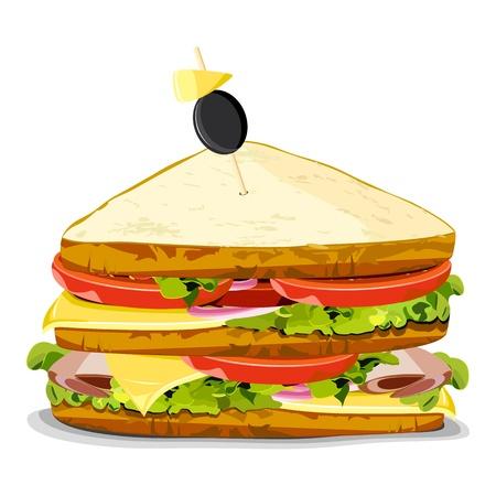Ilustración de deliciosa sandwich sobre un fondo aislado Ilustración de vector