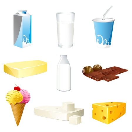 illustration of set of dairy products on isolated background Vector