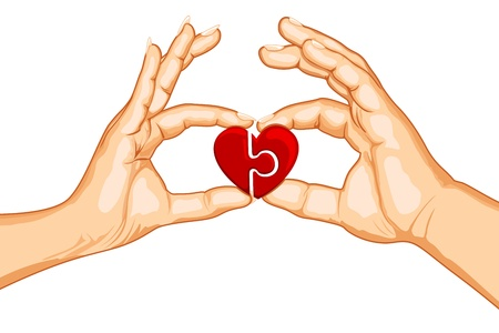 hand holding card: illustration of male and female handing joining puzzle pieces of heart on isolated background