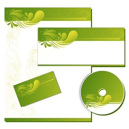 illustration of business template with business card,cd cover and letter head Vector