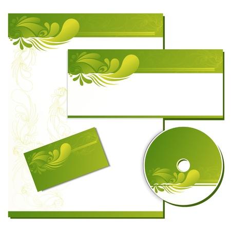 hojas membretadas: Ilustraci�n de la plantilla de negocio con la tarjeta de presentaci�n, cubierta de cd y cabeza de la Carta