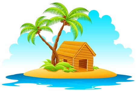 illustration of wooden home with palm tree on island
