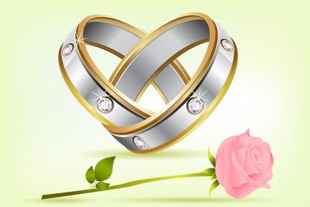 silver ring: illustration of pair of engagement rings with rose on abstract background Illustration
