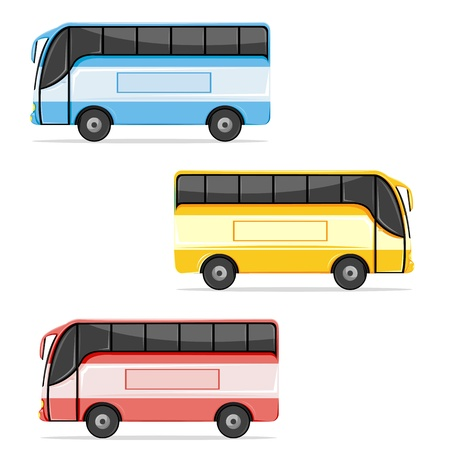 yellow schoolbus: illustration of set of colorful bus on white background Illustration