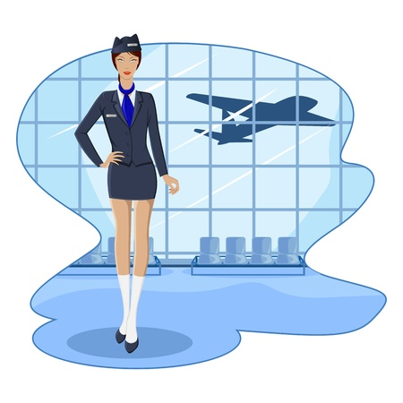 hotesse de l air: illustration of air hostess in airport lounge with flying airplane
