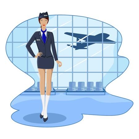 azafata: Ilustraci�n de anfitriona de aire en el Sal�n del aeropuerto con volar el avi�n Vectores