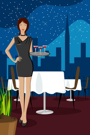 nightclub bar: illustration of gorgeous ladyserving food in restaurant