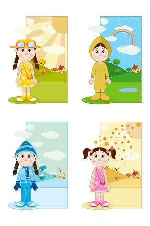 illustration of baby girl wearing different dresses in different season