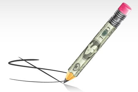 illustration of dollar pencil making dollar sign on floor Stock Vector - 9116974