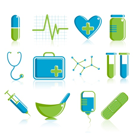 diagnosis: illustration of set of medical icon on plane white background