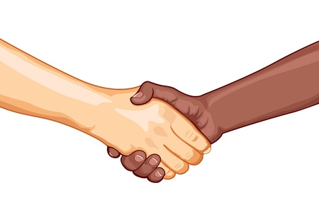 black handshake: illustration of black and white male handshaking with each other on white background