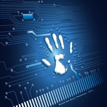 biometric: illustration of analysing of hand scanning on abstract background