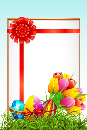 illustration of colorful decorated easter eggs and bouquet of tulip with card Vector