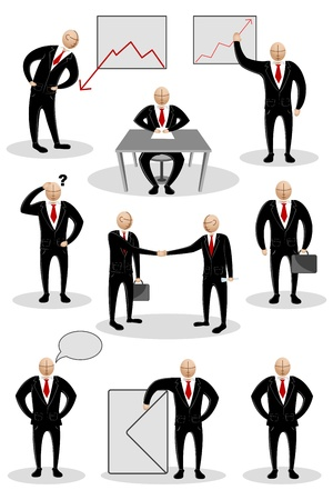 illustration of collection of business man doing different business activities Stock Vector - 9117731